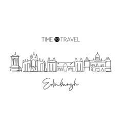 single continuous line drawing edinburgh city vector image