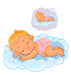 Small baby in a diaper asleep using a cloud vector