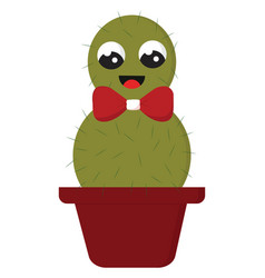 smiling green cactus with a red bow in a red pot vector image