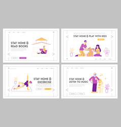 stay home landing page template set awareness vector image