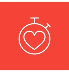 Stopwatch with heart sign line icon vector image