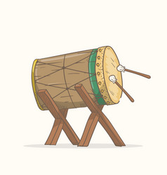 Traditional drum bedug a drum for muslim vector