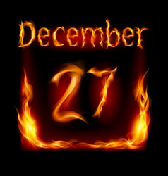 Twenty-seventh december in calendar of fire icon vector