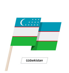 Uzbekistan ribbon waving flag isolated on white vector