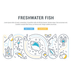 Website banner and landing page freshwater fish vector
