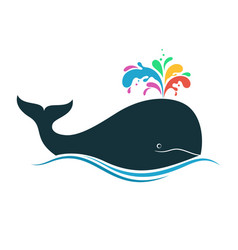 Whale with multicolored blow spout vector