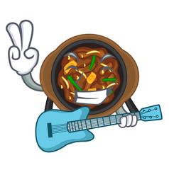 With guitar bulgogi in a cartoon shape vector