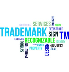 word cloud trademark vector image