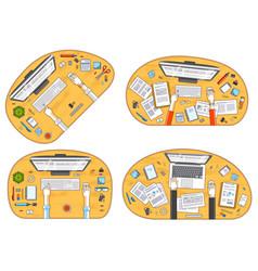 work desks workspaces top view with hands of vector image