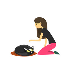 young woman sitting on the floor and stroking her vector image
