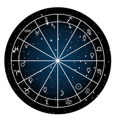 astrology zodiac with natal chart zodiac signs vector image