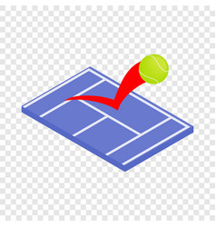 flying tennis ball on a blue court isometric icon vector image vector image