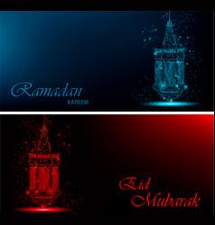 Ramadan kareem and eid mubarak beautiful greeting vector