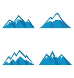Blue mountain icons on white background vector image