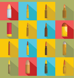 bullet gun military icons set flat style vector image