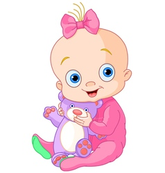 Cute baby girl with Teddy Bear vector image vector image