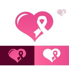 Pink Ribbon Heart Awarness Logo Icon vector image vector image