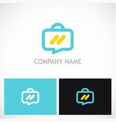 suitcase travel talk logo vector image vector image