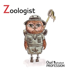 Alphabet professions Owl Letter Z - Zoologist vector image vector image