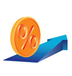 coin with percent sign vector image