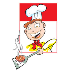 cooking a burger patty vector image vector image