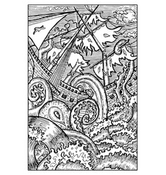 kraken the giant octopus engraved fantasy vector image vector image