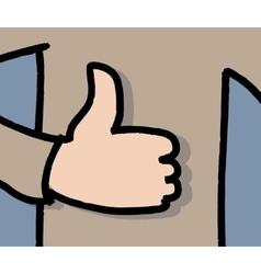Like sign hand man flat shadow vector image