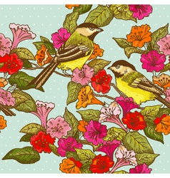 Seamless Pattern - Flowers and Birds vector image vector image