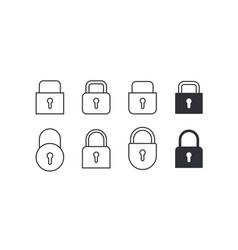 set of locks icons on white background vector image