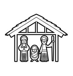 traditional family christmas manger scene baby vector image