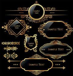 elegant gold and black labels vector image vector image