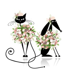 Glamor cat and dog in floral clothes for your vector image vector image