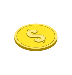 gold coin symbol flat isometric icon or logo 3d vector image
