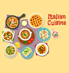 italian cuisine lunch menu with dessert icon vector image vector image
