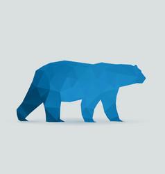 polar bear polygon blue silhouette vector image vector image