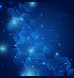 Abstract hexagon pattern with laser light on dark vector