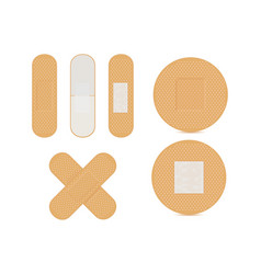 Adhesive bandage brown set vector