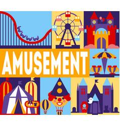 amusement park banner carnival circus funfair vector image