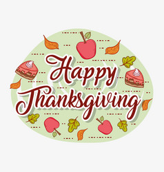 apples and autumn leaves to thanksgiving vector image