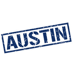 Austin blue square stamp vector