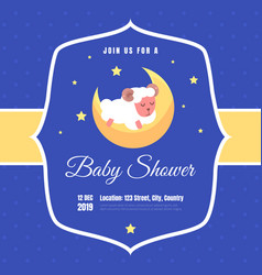bashower invitation template blue card with vector image