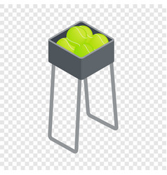 Basket for keep tennis balls isometric icon vector