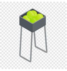 basket for keep tennis balls isometric icon vector image