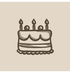 Birthday cake with candles sketch icon vector image