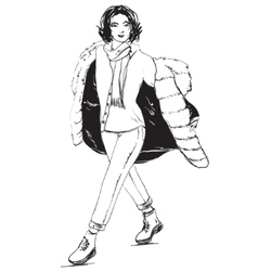 Black and white fashion woman model sketch vector