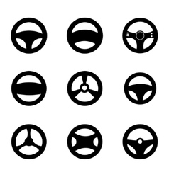Black Steering wheels icons set vector
