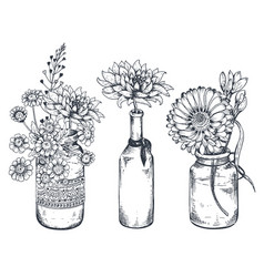 bouquets with hand drawn flowers and plants vector image