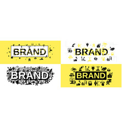 Brand identity banner set simple style vector