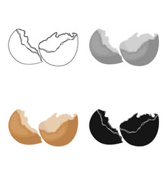 Broken eggshell icon in cartoon style isolated on vector