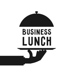 Business lunch like black hand serve vector